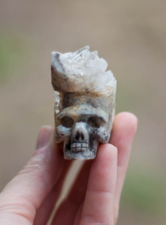Raw Crystal Skull Carving crown