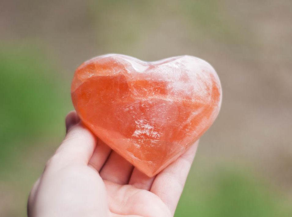 Peach Selenite Heart large