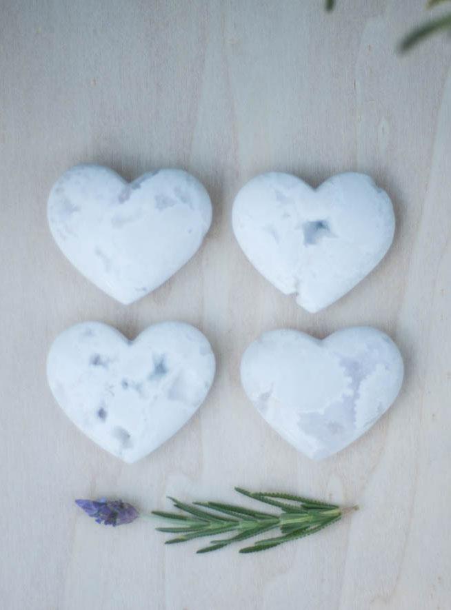 White Chalcedony Heart