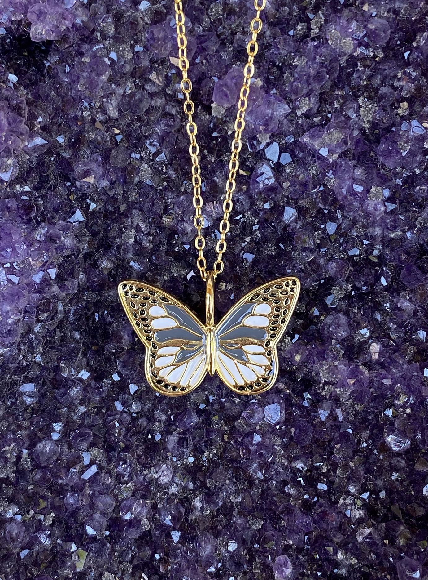 Gray Butterfly Necklace