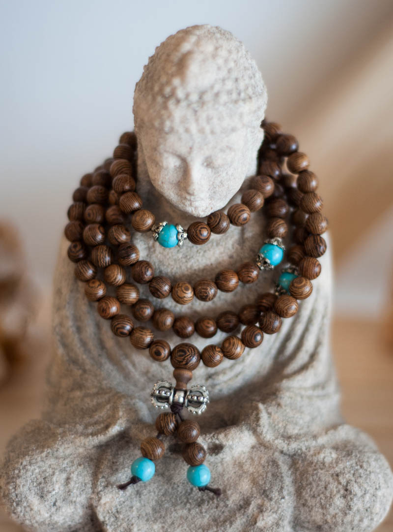 Stretchy Wood Mala - brown and blue