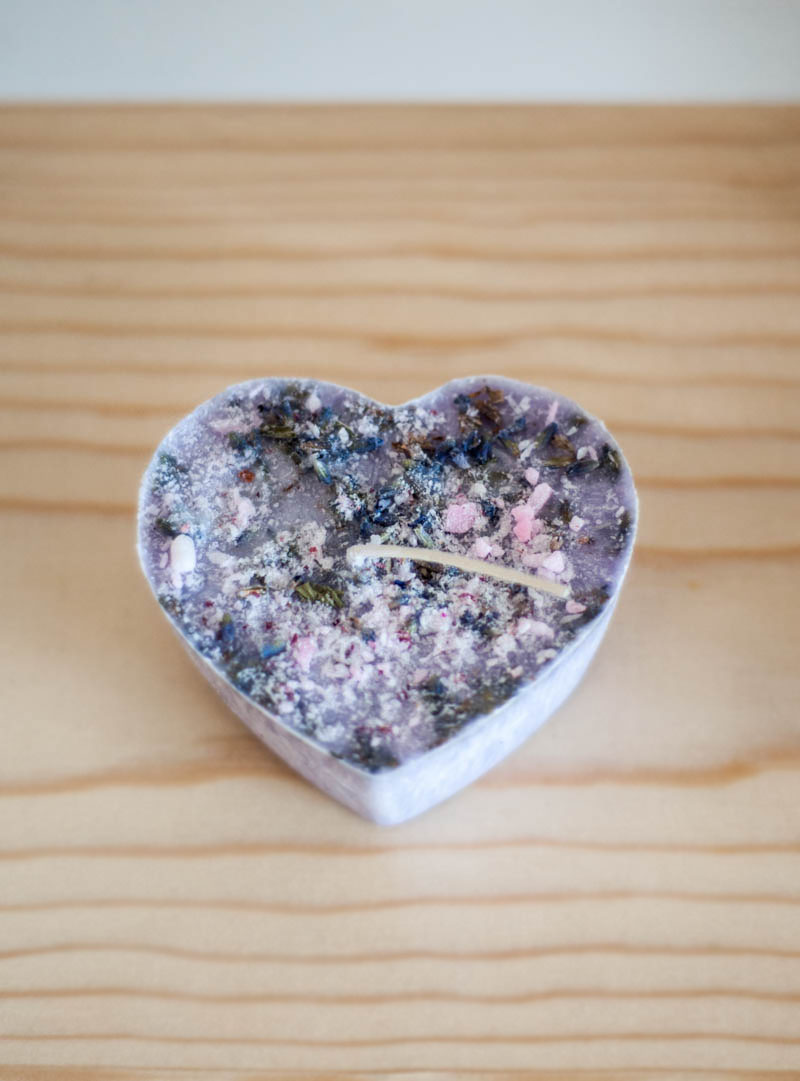 Lavender Heart Candle