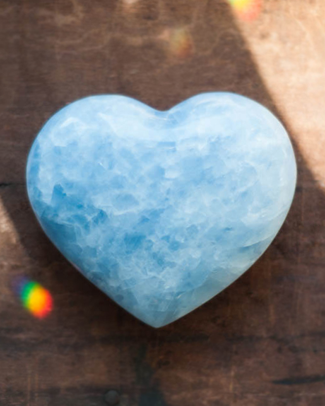 Blue Calcite Heart Crystal - small