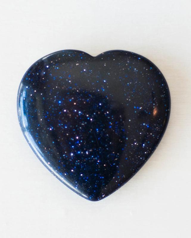 Blue Goldstone Heart Small
