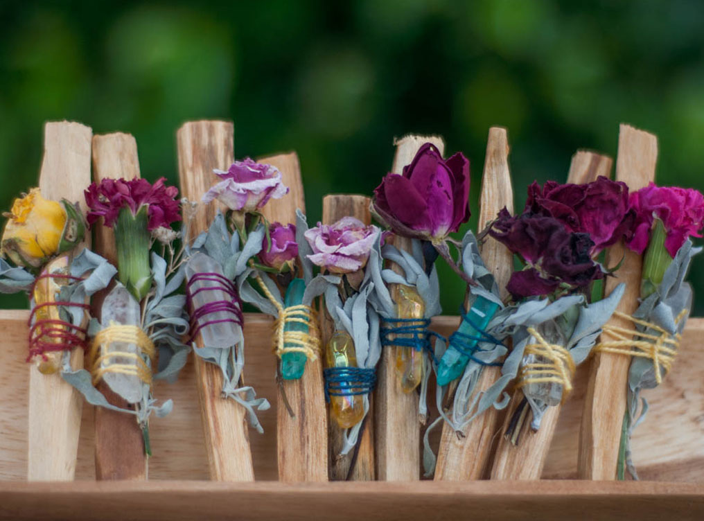 Palo Santo Smudging Stick with Herbs and Crystal