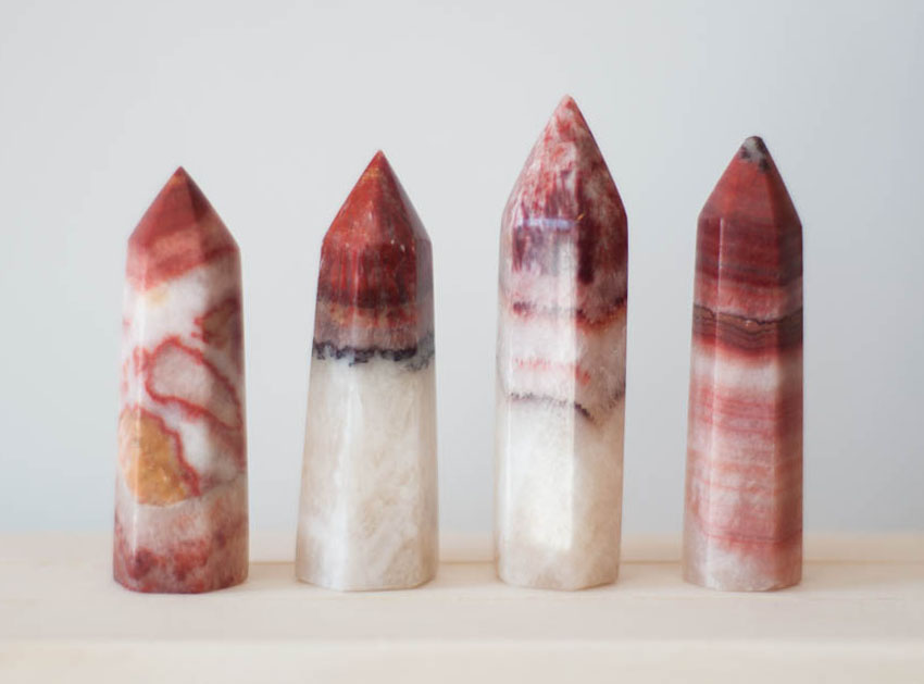 Red Calcite Tower - polished