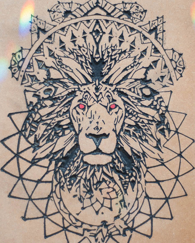 Lion Mandala crystal Grid Base