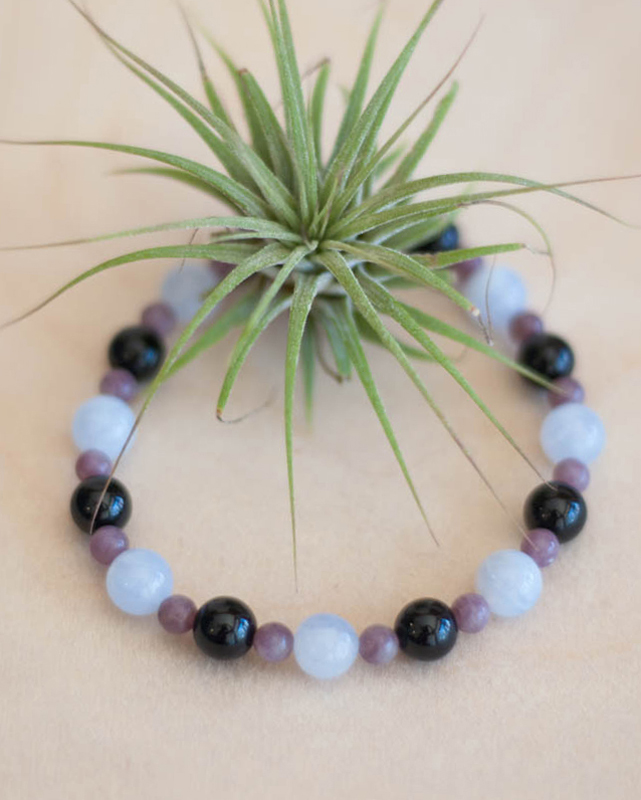 Blue Lace Agate, Black Tourmaline and Lepidolite Bracelet