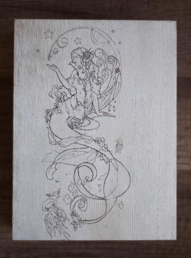 Mermaid Wood Box Silver