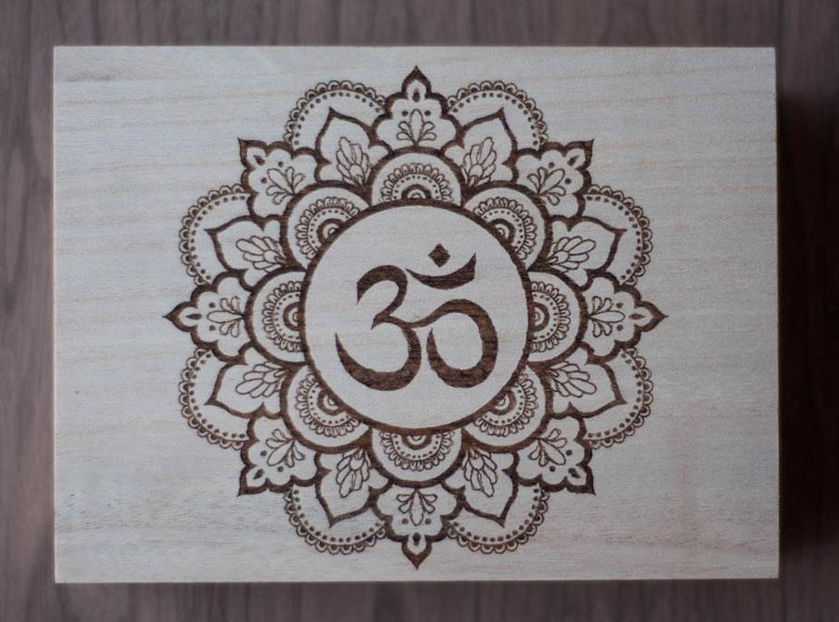 Om Mandala Wood Box Natural
