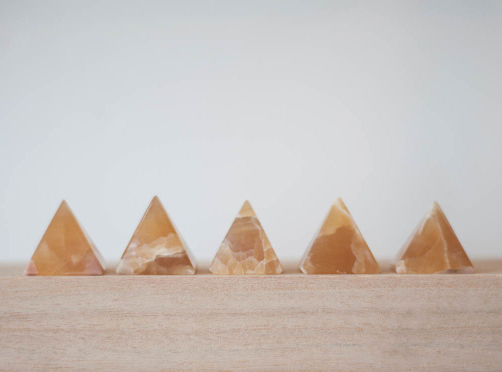 Orange Calcite Pyramid small