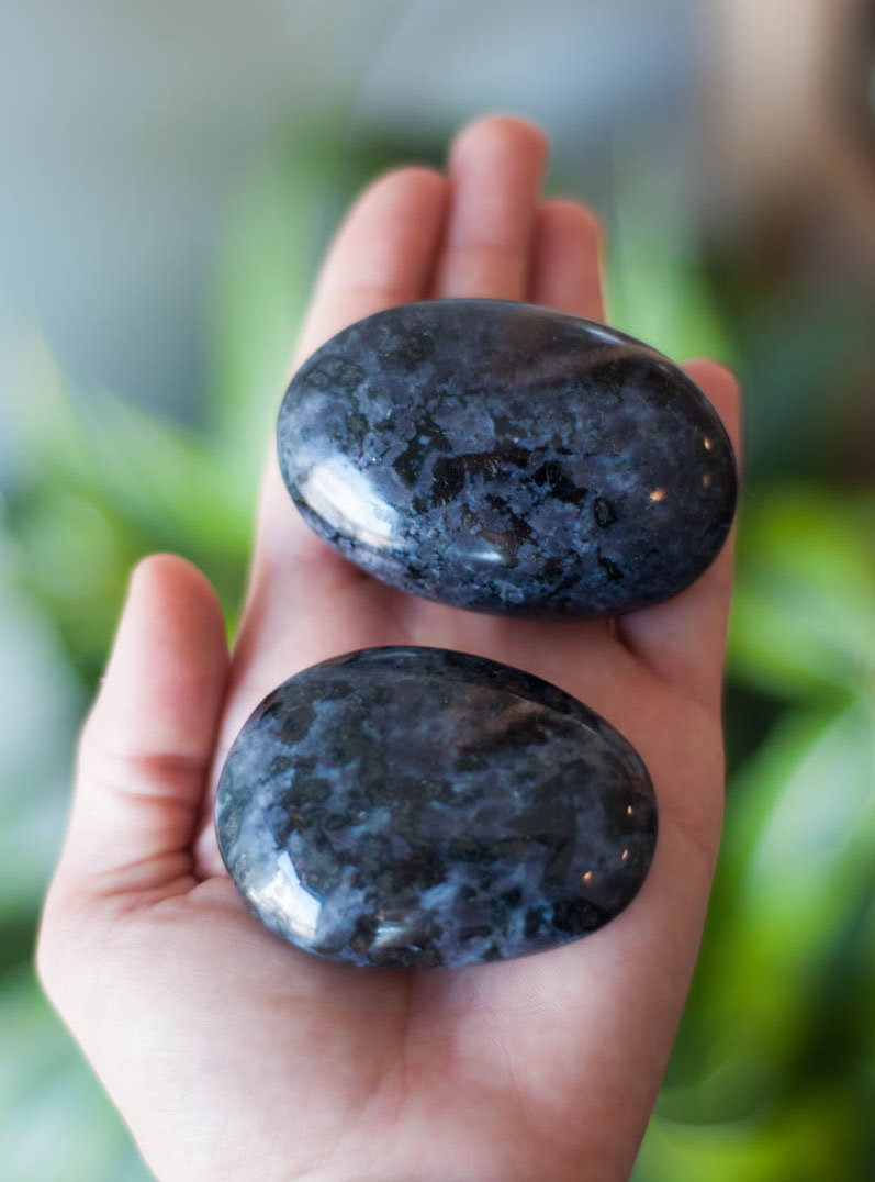 Indigo Gabbro/ Merlinite Palm Stone