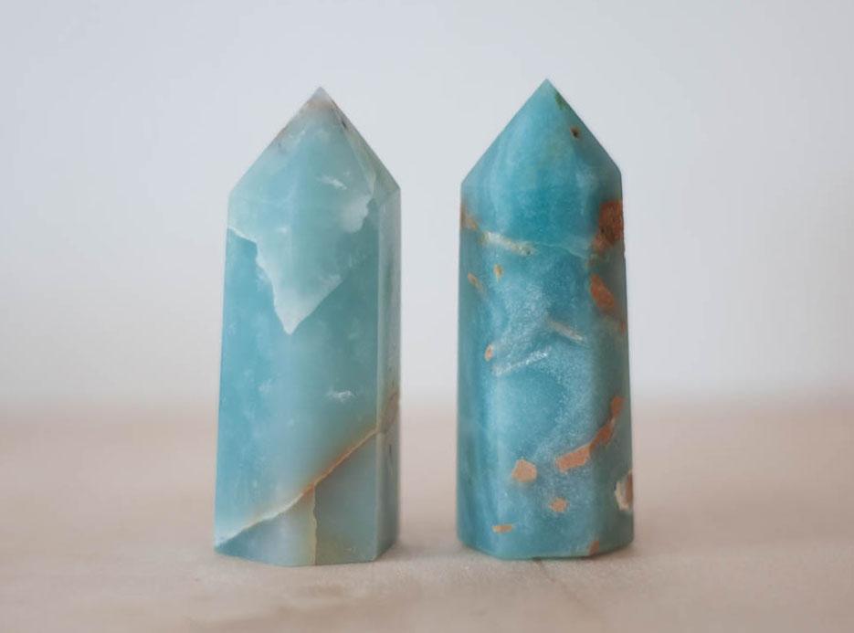 Caribbean Blue Calcite Tower medium