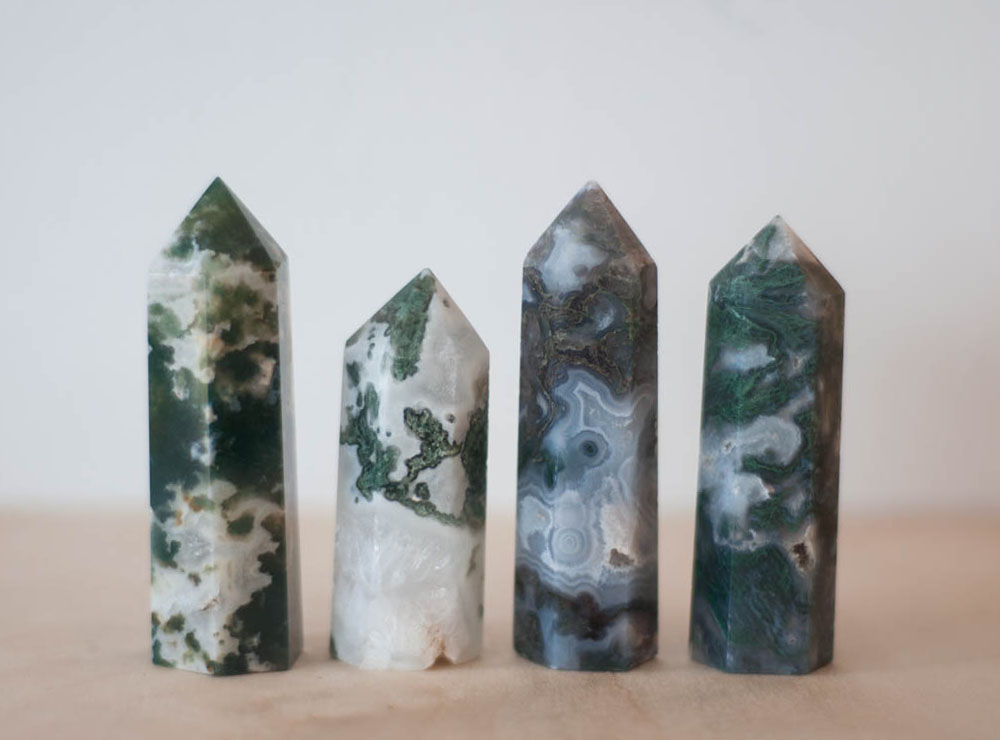 Green Moss Agate Tower medium
