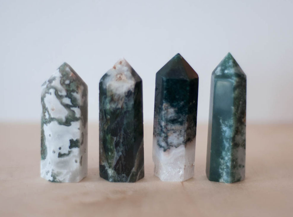 Green Moss Agate Tower small
