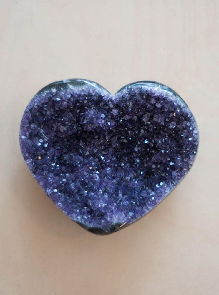 Uruguay Amethyst Geode Heart #34