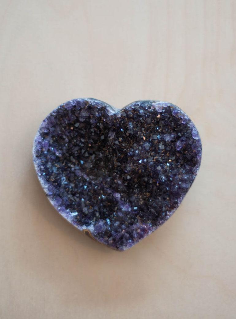 Uruguay Amethyst Geode Heart #48