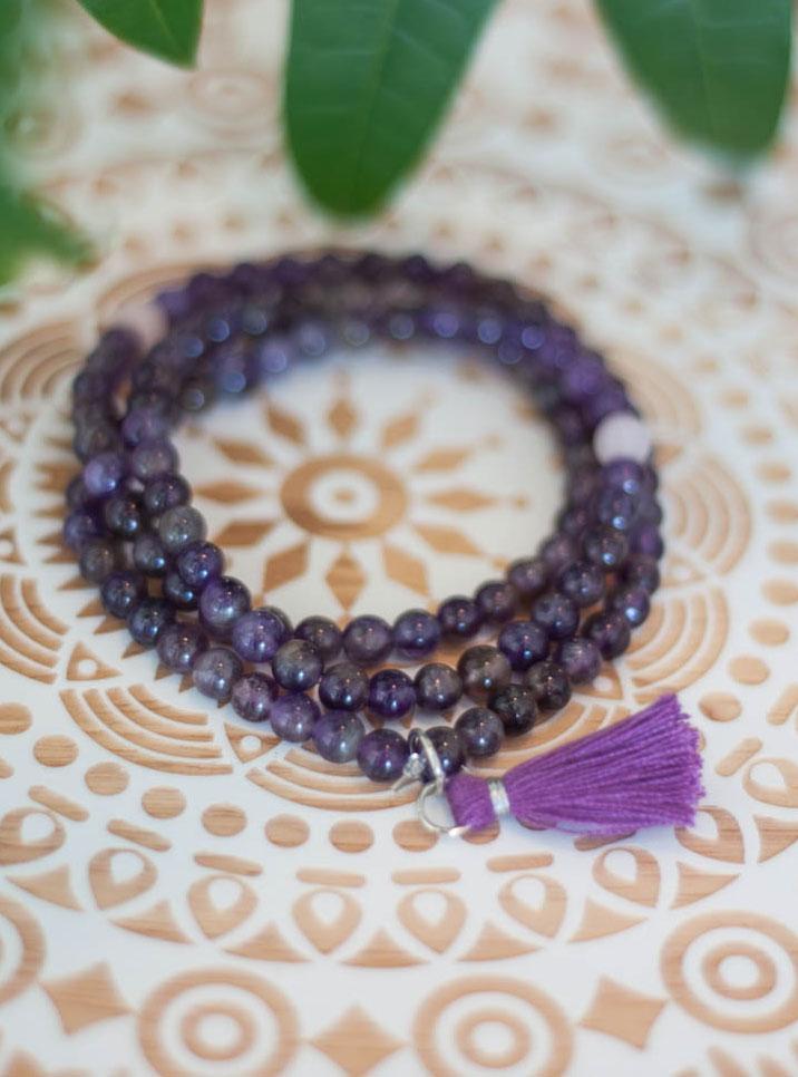 Amethyst 6mm Stretchy Mala Beads
