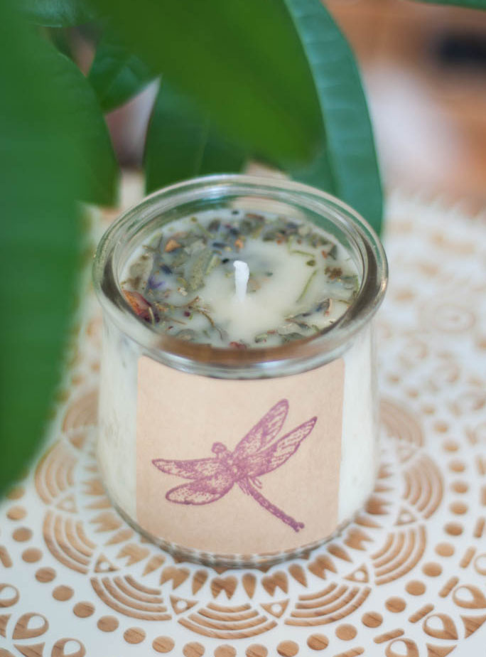 Upcycled Container Herbal Candle - Milk and Honey
