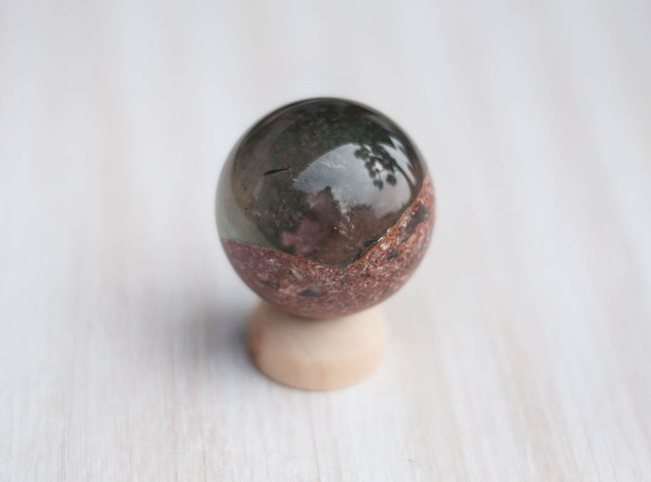 Quartz Sphere with Iron and Chloride Deposits #2