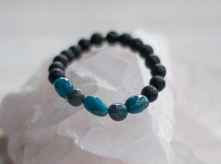 Aroma Diffuser Lava and Apatite Bracelet