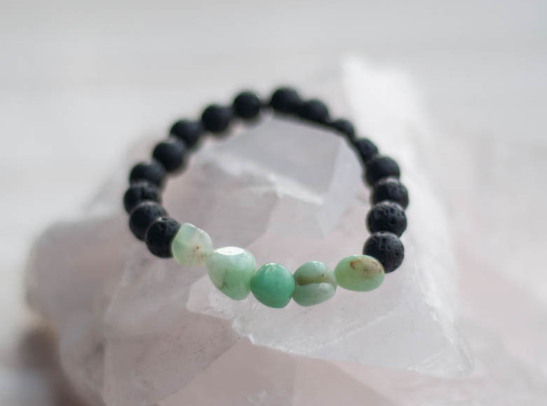 Aroma Diffuser Lava and Chrysophrase Bracelet