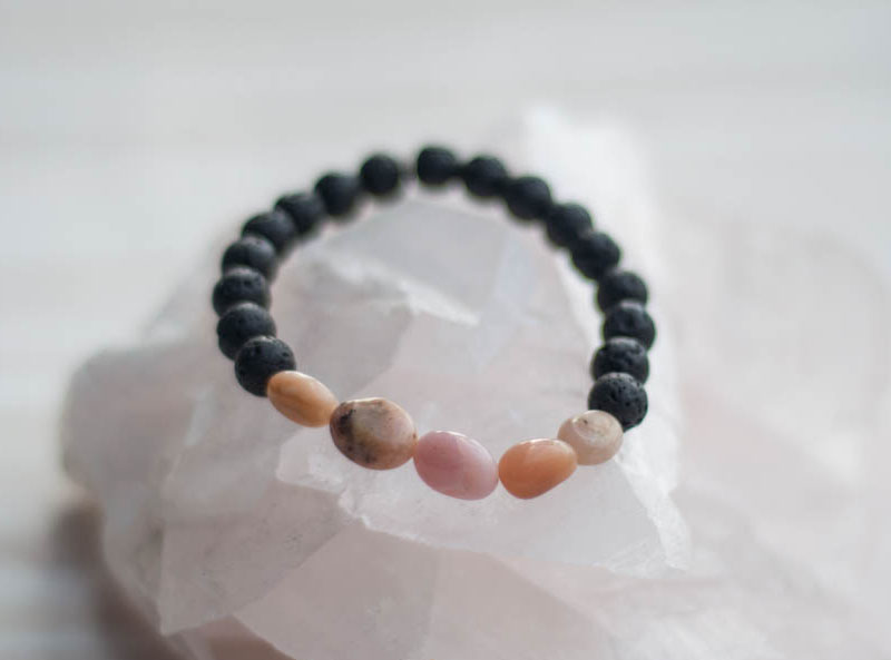 Aroma Diffuser Lava and Pink Opal Bracelet