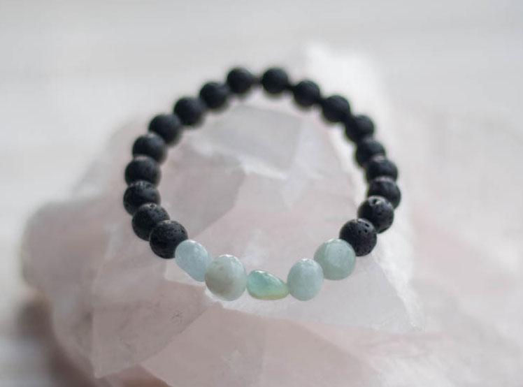 Aroma Diffuser Lava and Aquamarine Bracelet