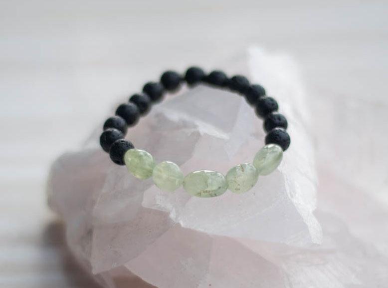 Aroma Diffuser Lava and Prehnite Bracelet