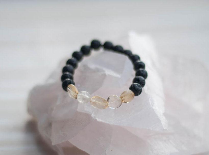Aroma Diffuser Lava and Citrine Bracelet