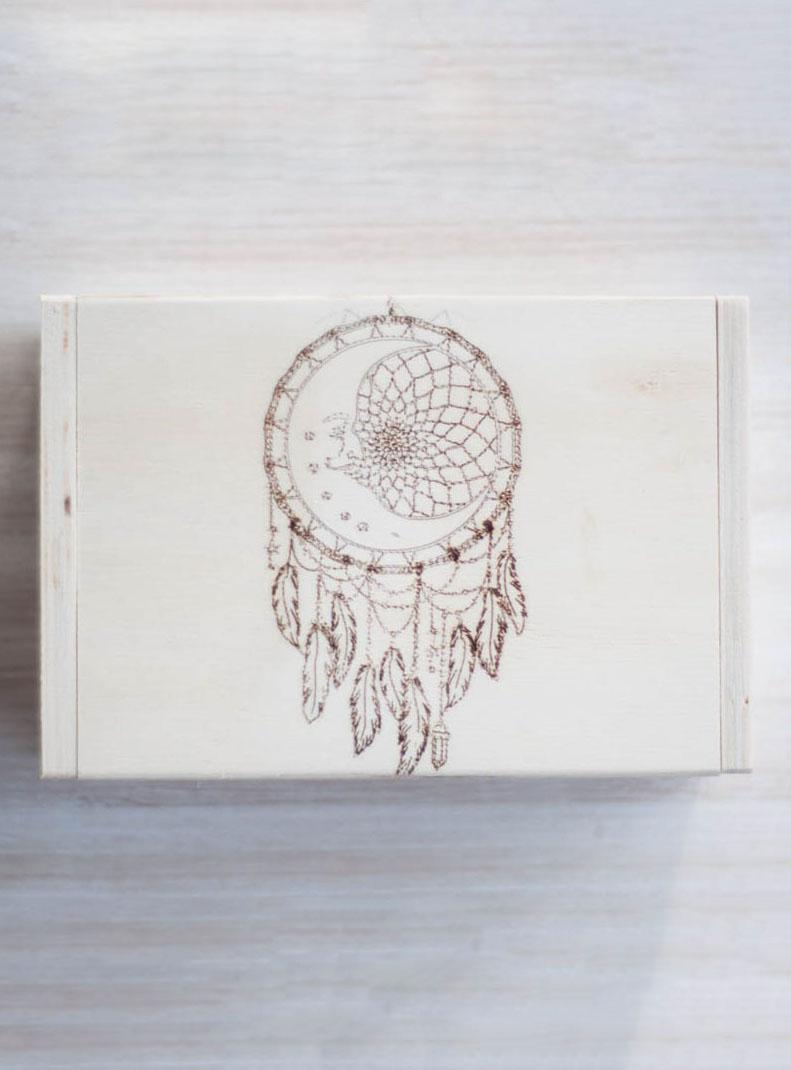 Moon Dreamcatcher Hinged Wood Box