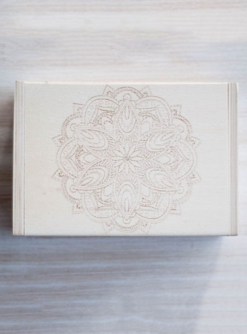 Mandala Hinged Wood Box
