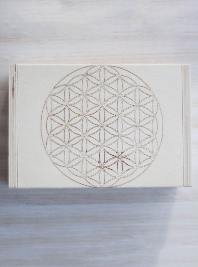 Flower of Life Hinged Wood Box