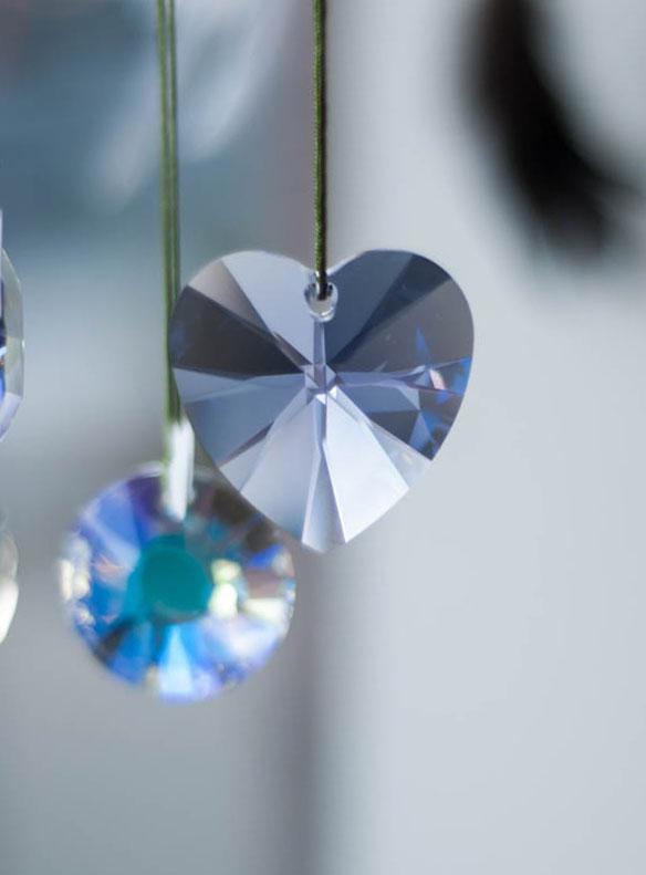Swarovski Crystal 40mm Rainbow Maker Heart Lavender