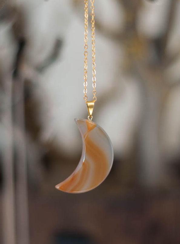 Agate Moon Pendant - Brown