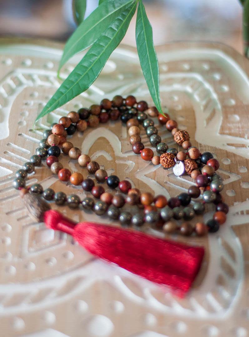 Pyrite and Wood 108 Mala Beads