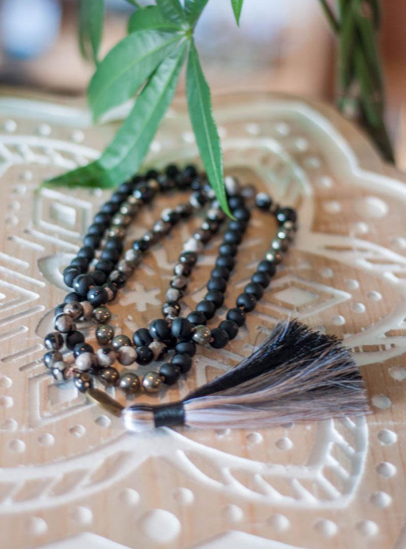 Onyx and Pyrite 108 Mala Beads