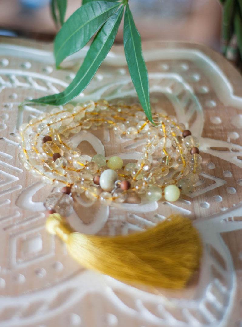 Citrine and Prehnite 108 Mala Beads