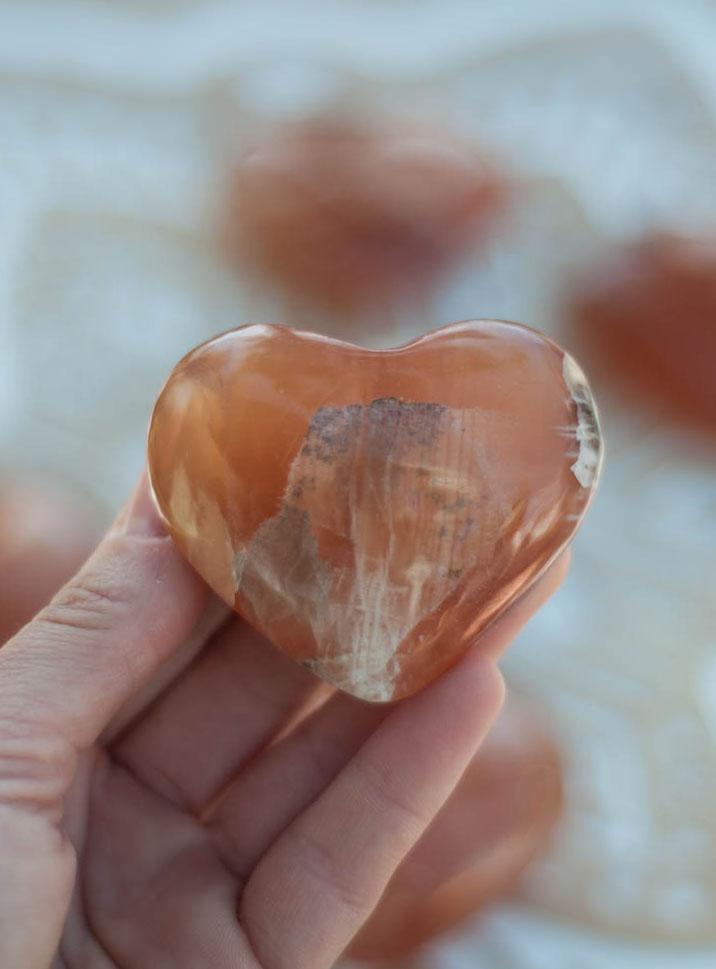 Honey Calcite Heart - Pakistan