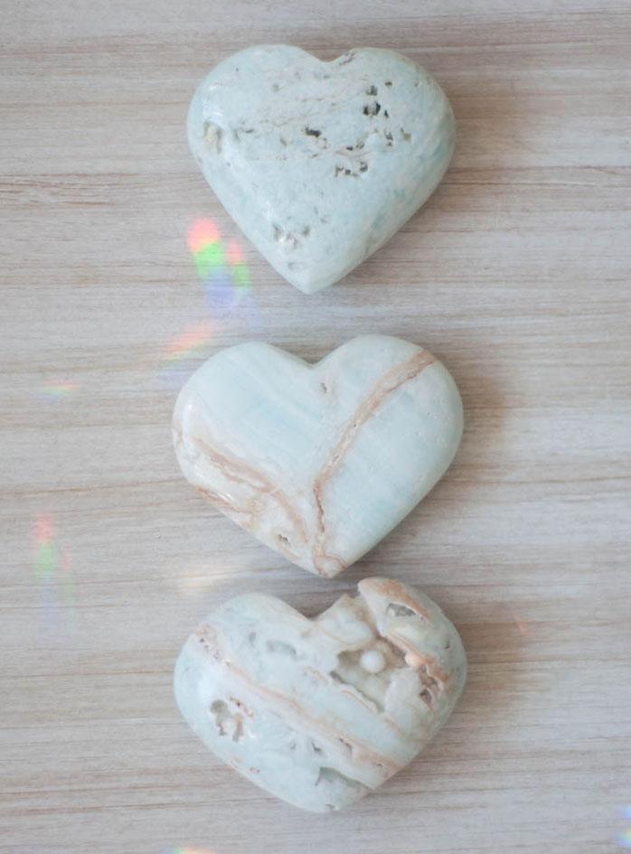 Medium Caribbean Light Blue Calcite Heart - Pakistan