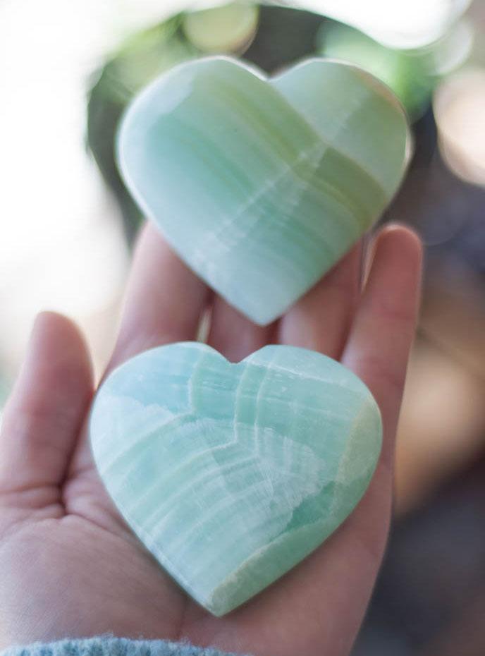 Small Sea Green Calcite Heart - Pakistan