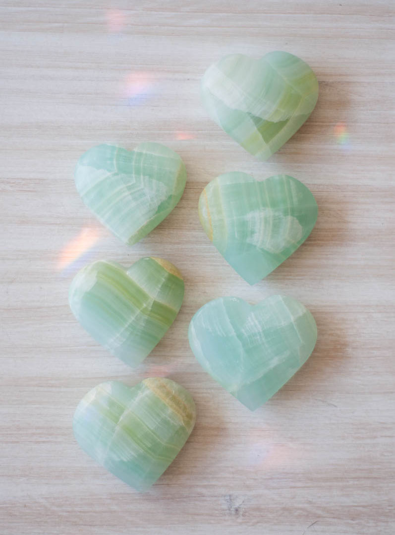 Medium Sea Green Calcite Heart - Pakistan