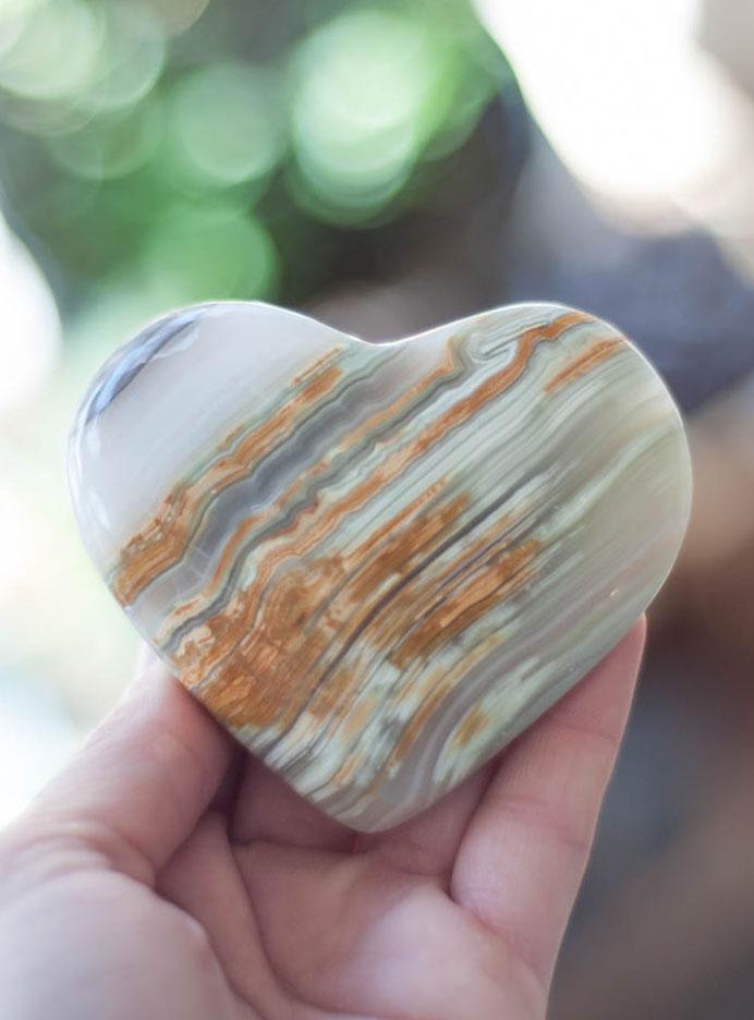 Large Green Calcite Heart - Pakistan
