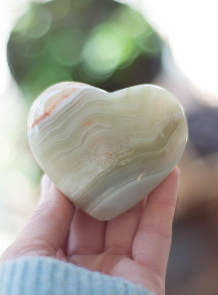 Medium Green Calcite Heart - Pakistan