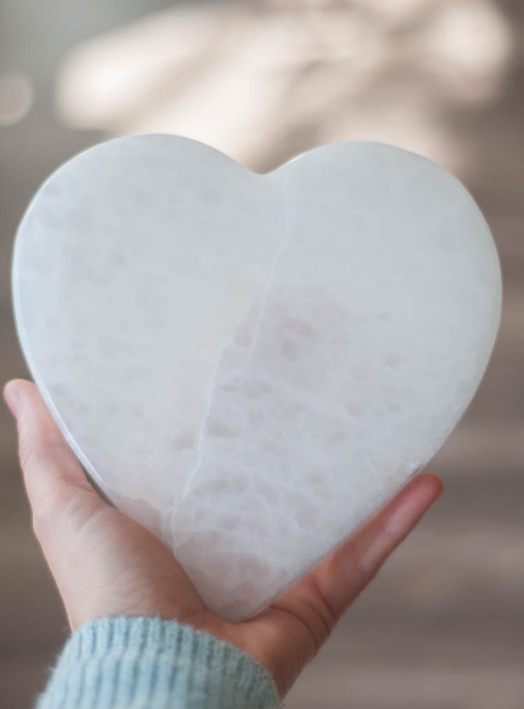 Flat Selenite Heart large