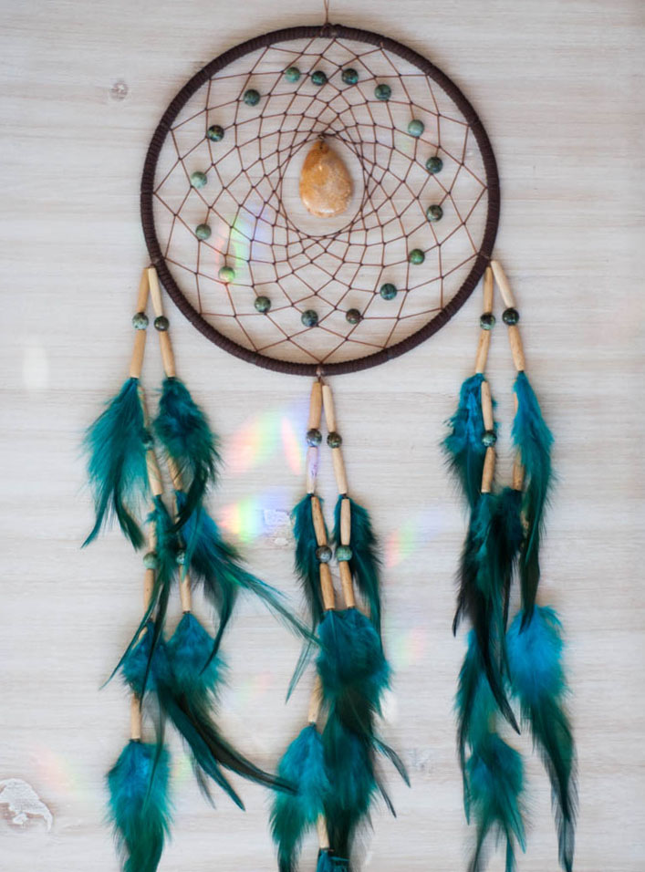 Coral and African Turquoise Dreamcatcher - Balanced Goddess
