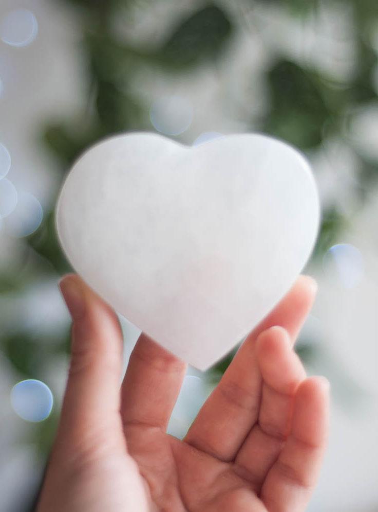 Flat Selenite Heart small