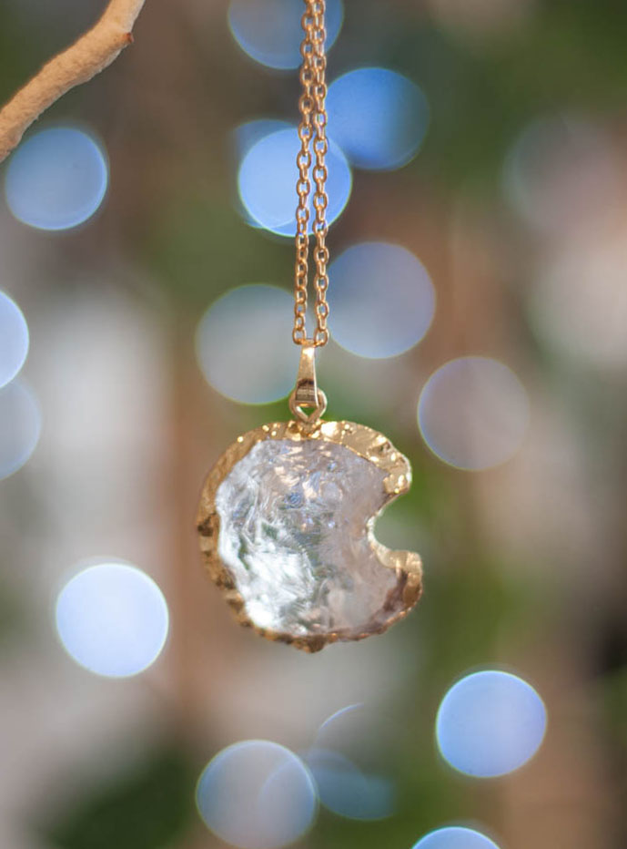 Raw Quartz Moon Pendant #2