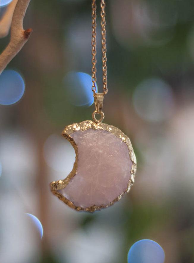 Raw Rose Quartz Moon Pendant