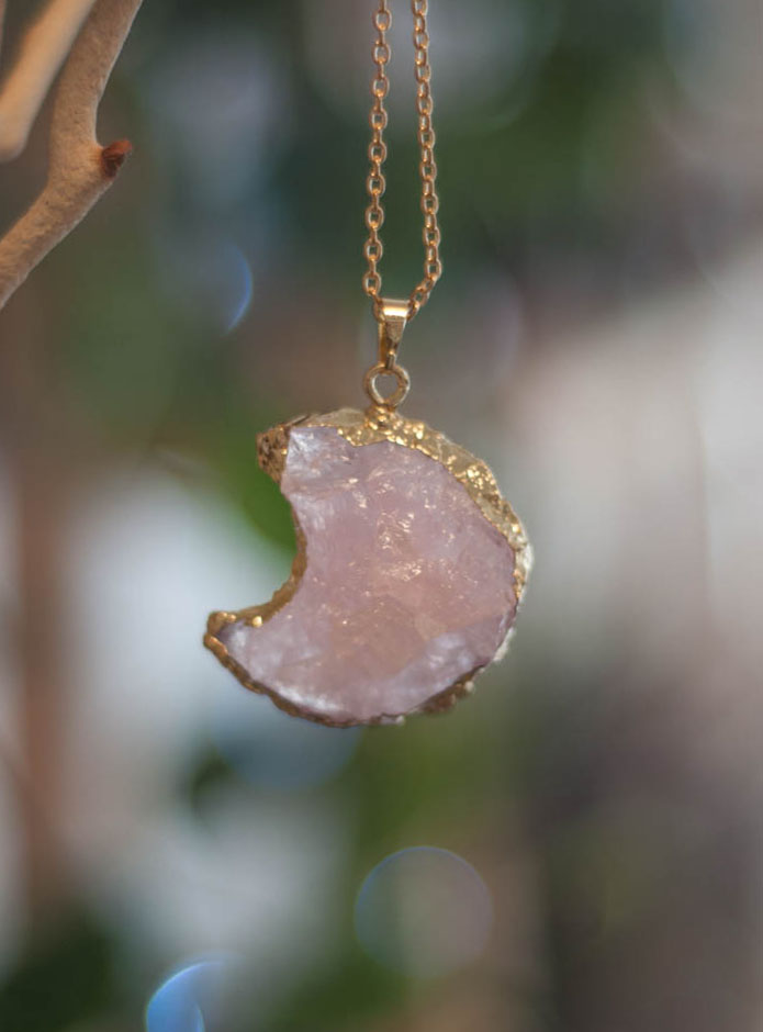 Raw Rose Quartz Moon Pendant #2